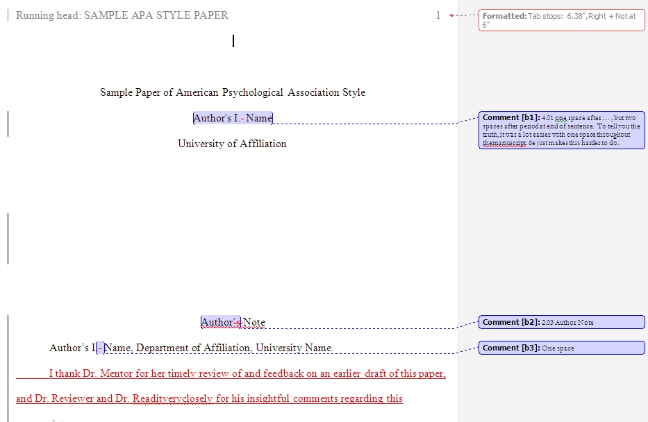 Apa Template Apa template with comments